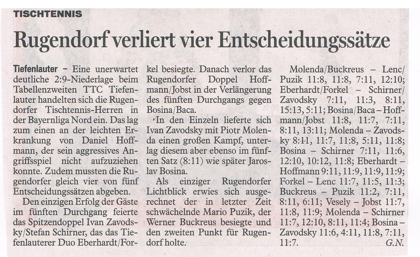BR Zeitungsbericht Spiel in Tiefenlauter